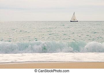 Sea, yacht, sky with wave and beach