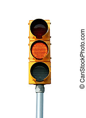 Isolated yellow traffic signal light on white