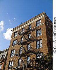 Midtown New York building - A classic brownstone building in...