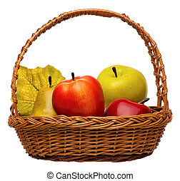 Artificial fruits in wicker basket isolated on white...