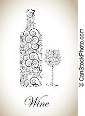 Wine Bottle - Wine bottle over vintage background vector...
