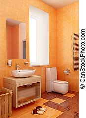 ogange bahtroom interior - modern orange bathroom interior...