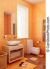 ogange bahtroom interior - modern orange bathroom interior...