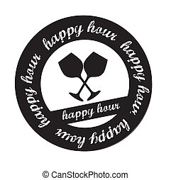 Happy hour stamp over white background vector illustration
