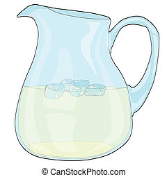 Pitcher of Lemonade - A pitcher of lemonade with ice on a...