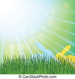 Easter rabbits in a meadow - Sun rays green meadow with...