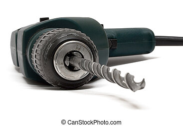 Drill Machine - Green drilling machine isolated on a white...