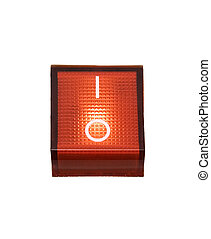 Red Power Switch - On - Power switch isolated on a white...