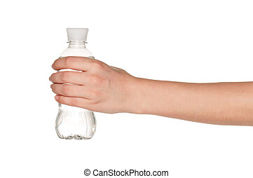 Hand with bottle of water