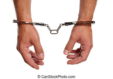 Hand with handcuffs - Man hands with handcuffs isolated on...