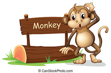 A monkey beside a sign board - Illustration of a monkey...