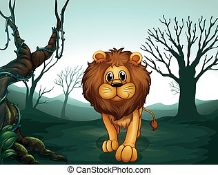 A lion in a scary forest - Illustration of a lion in a scary...