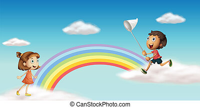 Happy kids near the colorful rainbow - Illustration of happy...