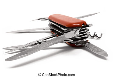 Red Multitool Penknife - Red Multitool knife isolated on a...