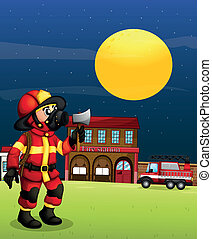 A fireman in the middle of the night