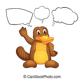 A platypus - Illustration of a platypus on a white...