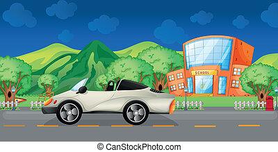 An elegant sports car at the road