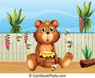 A bear with five bees