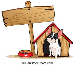 A dog and the empty signboard - Illustration of a dog and...