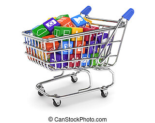 Shopping cart with media boxes - 3d illustration of shopping...