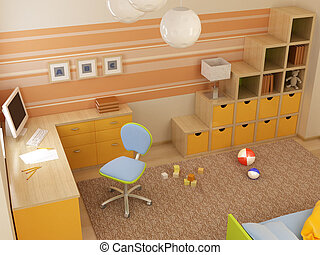 children's room interior - 3d interior of the children's...