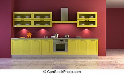 pop-art style kitchen interior
