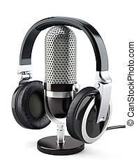 Headphones with microphone - 3d illustration of headphones...
