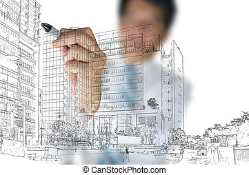 Business Man draw building and cityscape - Business Man or...