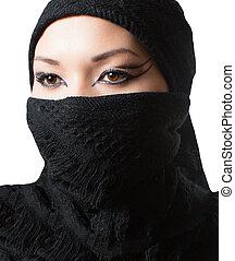 oriental, Arabe, Maquillage, portrait, Asiatique, Kazakh,...