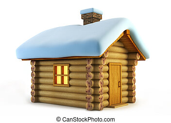 isolated loghouse - symbolic christmas loghouse 3d rendering
