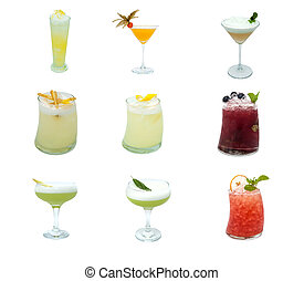 Set pictures with cocktails - Set photos with cocktails on a...