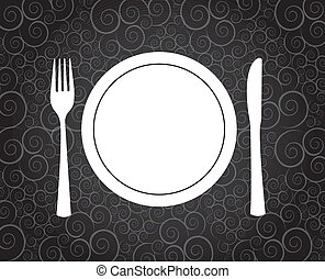 Dinner symbol over vintage background vector illustration