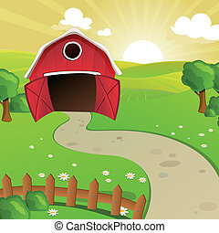 Vector Farm - Vector Illustration of a Farm in front of a...