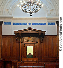 British crown court room - Crown court in St Georges Hall,...