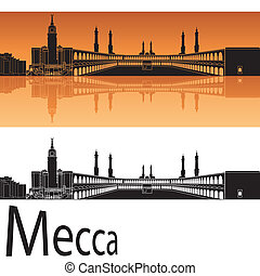 Mecca skyline in orange background in editable vector file
