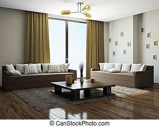 Livingroom with furniture near the panoramic windows