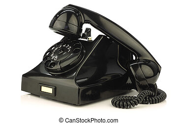 vintage bakelite telephone on a white background