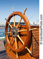 Wooden helm - Helm (steering wheel) of a sailing ship