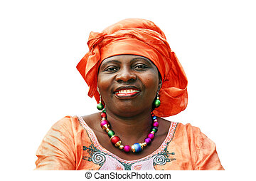 Smiling African woman in orange scarf on white - Beautiful...