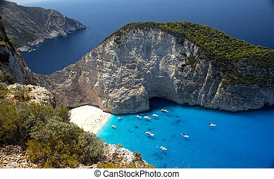 Navagio Beach in Zakynthos - Panoramic view of Navagio beach...