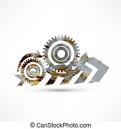 Vector gears, isolated object on white background, technical, mechanical illustration