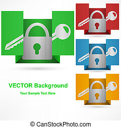 lock icon on paper, isolated on white background