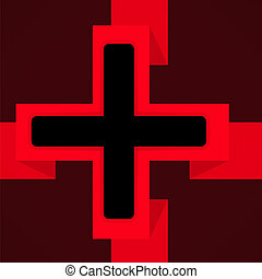 Red and black poster with cross