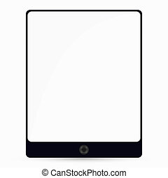 Tablet computer with white screen. Vector illustration