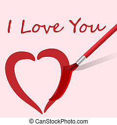 Vector paintbrush paints heart