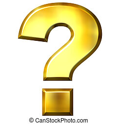 3D Golden Question Mark - 3d golden question mark isolated...