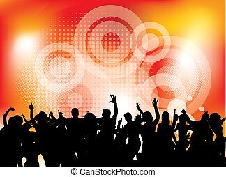 Club party with dancing people in editable vector format
