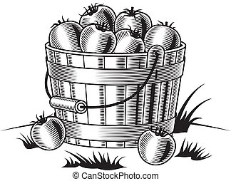 Retro bucket of tomatoes black - Retro bucket of tomatoes in...