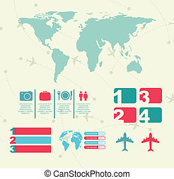 Travel - travel icons with infographics and map vector...
