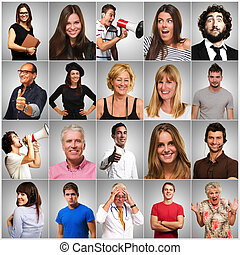 Series Of Different People On Gray Background